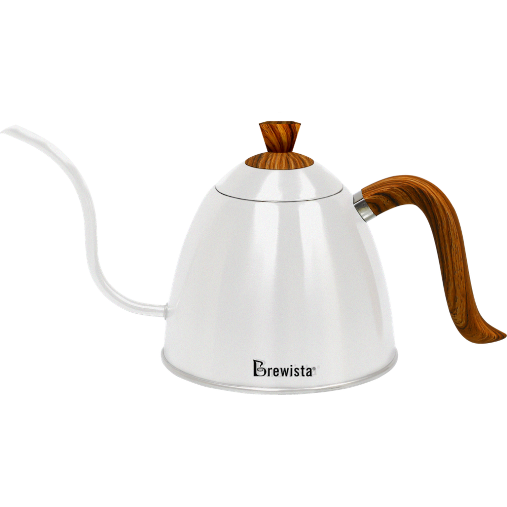 Brewista 700 ml. Kettle W/Wood grain handle and lid-Pearl White