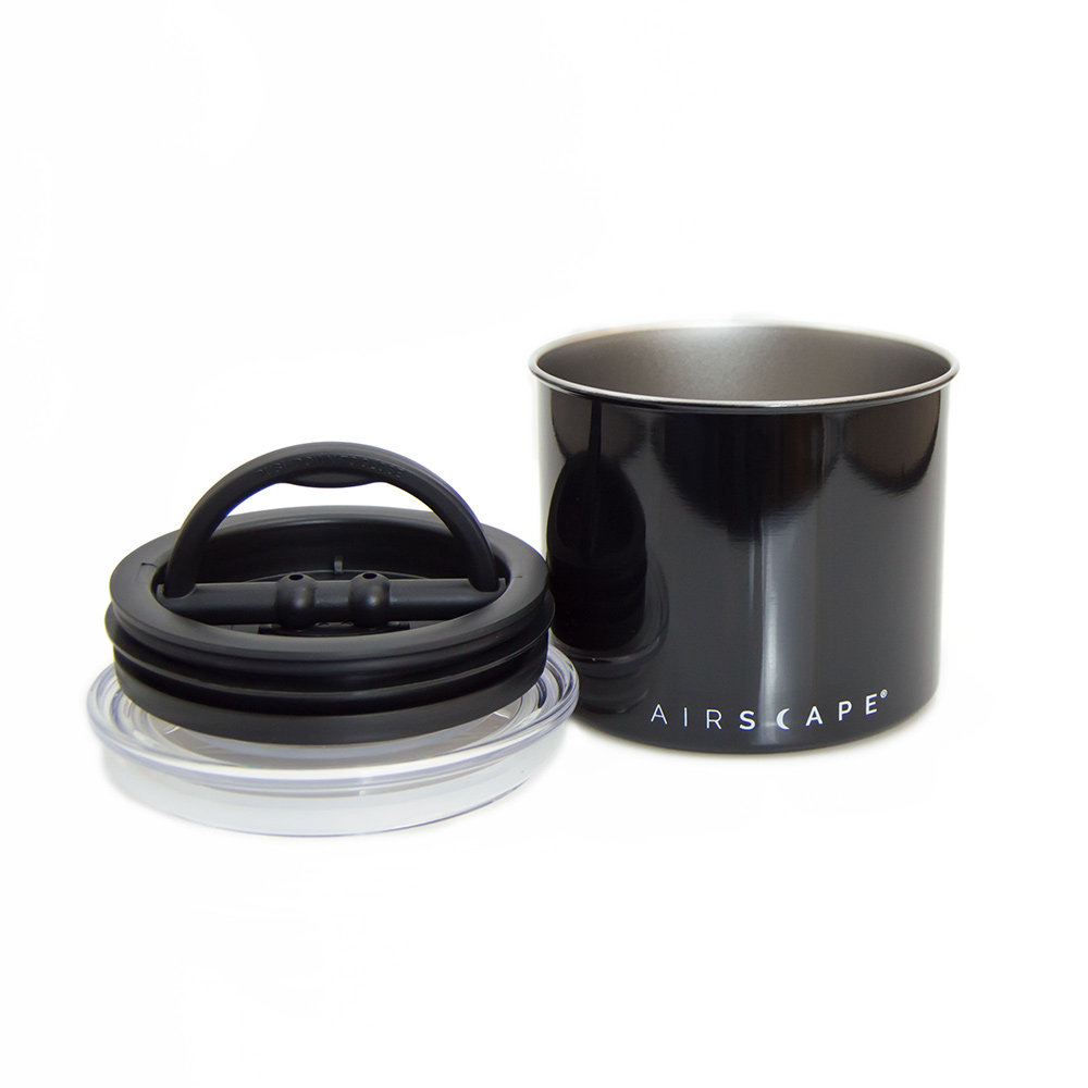 """Airscape Black Stainless Steel Canister 4""""  for 1/2 lb. (250 g) Whole bean Coffee"""