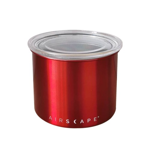 "Airscape Classic Stainless Steel 4"" Red (AS0304) Small for 1/2 lb. (250g) Whole bean Coffee"