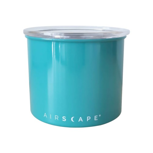 """Airscape Classic Stainless Steel 4"""" Turquoise (AS0604) Small For 1/2 Lb. (250 G) Whole Bean Coffee"""